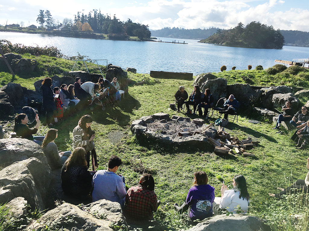 NACM members gather at the fire site in Esquimalt during the 2016 Gathering