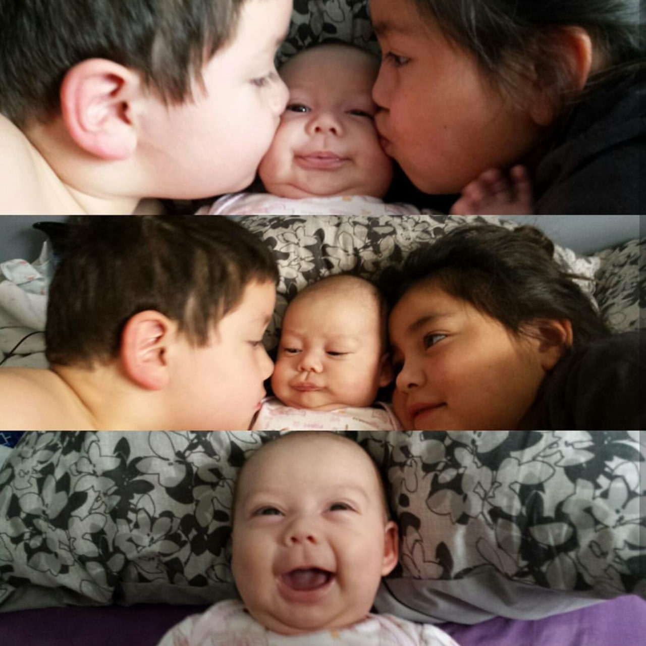 Indigenous children welcome their new sibling with kisses.