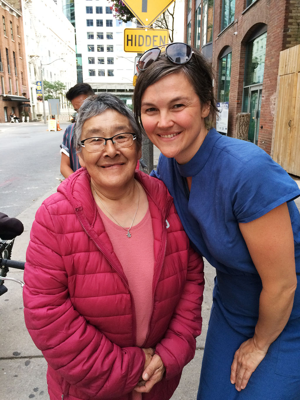 Inuit Elder midwife Leah Qinuajuak with Métis midwife Nathalie Pambrun in Toronto for Core Competencies Workshop, July 2018