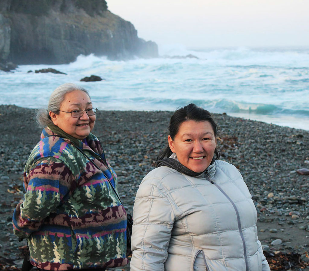 Elder midwives Sharon Smoke and Brenda Epoo at 2012 Gathering in Newfoundland