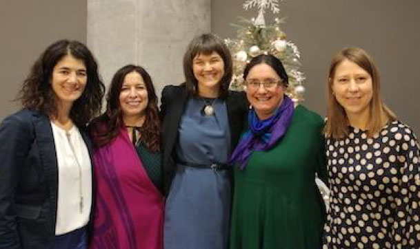 Tonia Occhionero, Ellen Blais, Nathalie Pambrun, Carol Couchie and Alisha Nicole Apale in the lobby at the Status of Women Canada in Ottawa