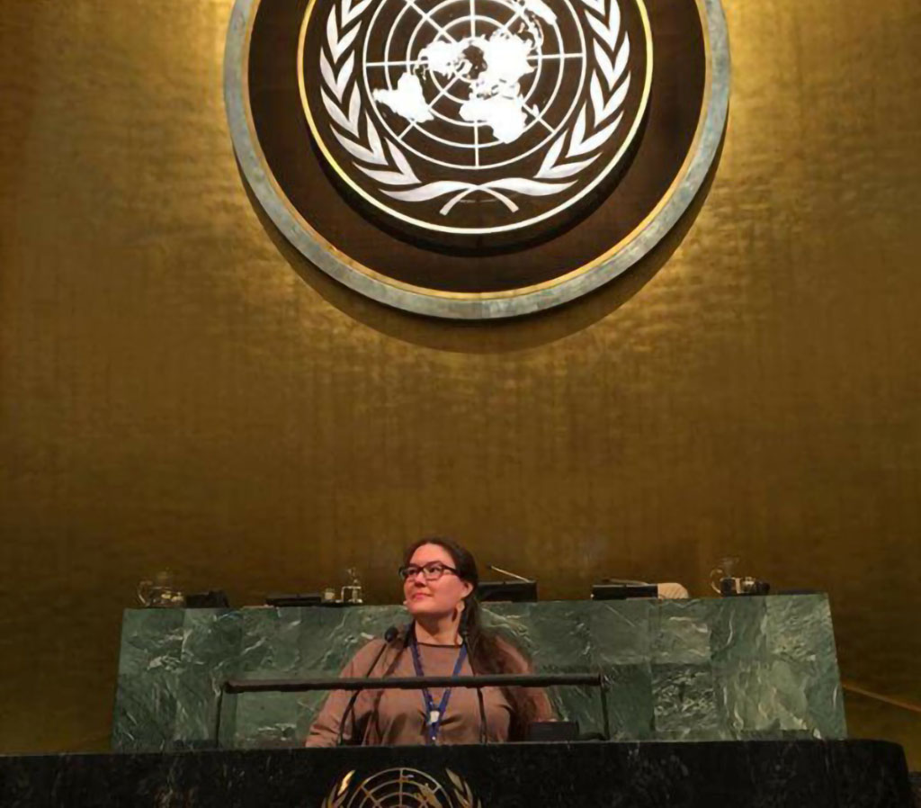 NACM Core Leader Cheryllee Bourgeois delivers an Oral Statement on Indigenous Midwifery to the 17th Session of the United Nations Permanent Forum in April 2018.